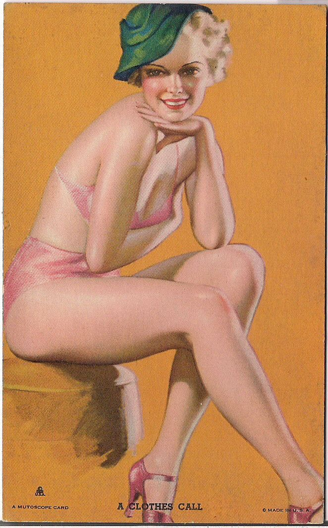 Rare Original 1940s EARL MORAN A Clothes Call MUTOSCOPE Arcade card Cheesecake Pinup series