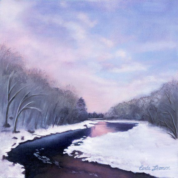 Print Snowy Landscape Painting Winter Painting Of River Scenery Winter Artwork Forest Print Purple Wall Art Print Landscape Paintings Winter Painting Winter Artwork