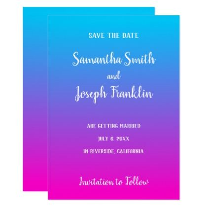 Aqua and Hot Pink Ombre Save the Date Card - invitations custom unique diy personalize occasions