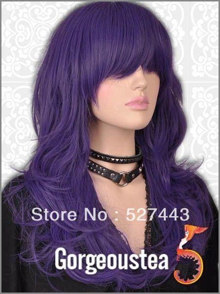 Peruca cheveux reine En Gros livraison gratuite>> GW031 Pourpre Longs Bouclés Élégant EMO Chic Pleine Perruque dans Perruques de Santé & Beauté sur AliExpress.com | Alibaba Group