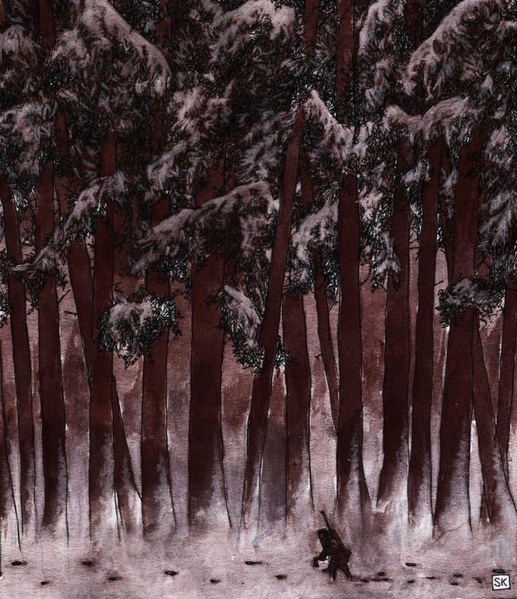 Bastian Kupfer's The Wendigo, by Algernon Blackwood. #bastiankupfer #algernonblackwood #blackwood #wendigo #wood #forest #monster #myth #legend #curse #unconscious #literature #illustration #art #fabulantes