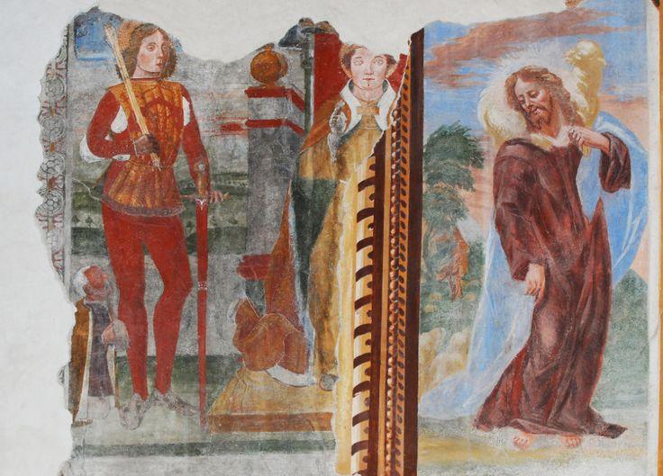 Dionisio Baschenis - Navata laterale con uno degli affreschi del ciclo cristologico - affresco - 1504 - Chiesa di San Ludovico al Bretto di Camerata Cornello dopo i restauri (Bergamo, Italia)