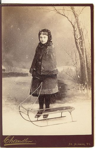 Antique cabinet photo- Wintergirl, Snow & Sled.