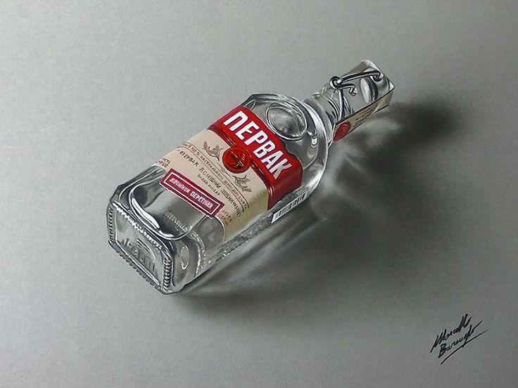 Marcello Barenghi: A bottle of vodka Pervak - drawing ...