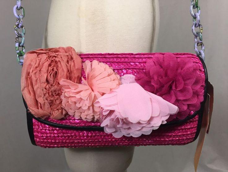 Betsey Johnson Pink Straw Clutch Flower Shoulder Bag Brazil Collection  Macy's #BetseyJohnson #ShoulderBag