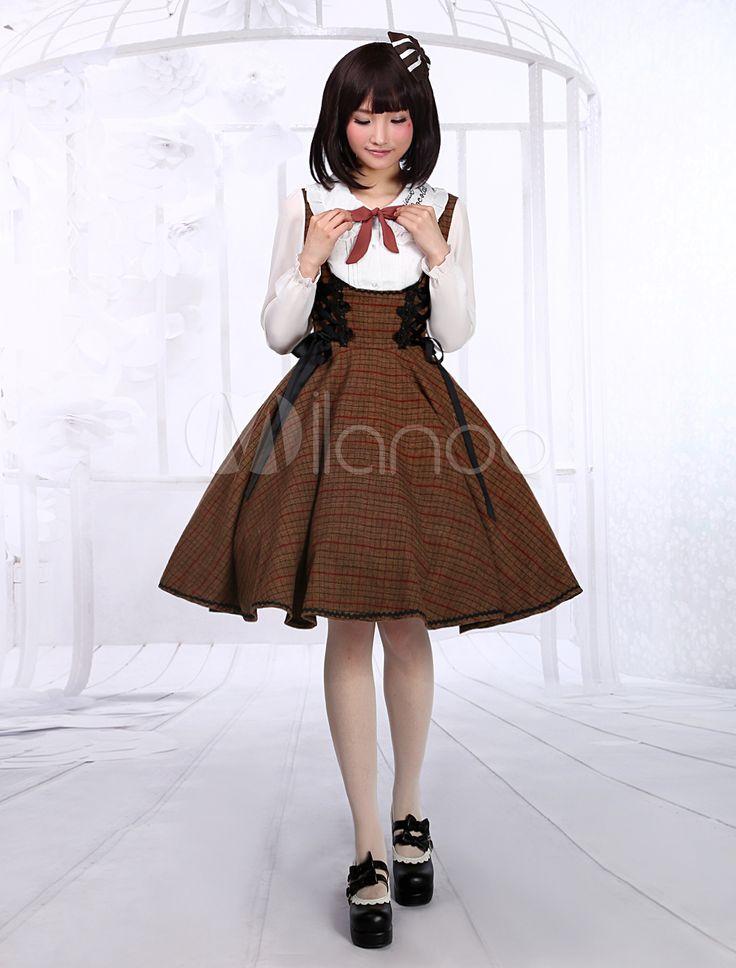 Quality Brown Bow Wool Blend Cute Jumper Skirt #milanoo