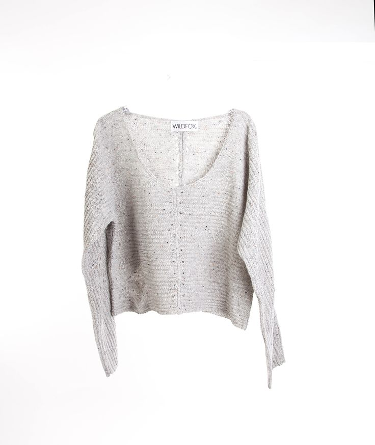 Wildfox Womens Terra Heather Grey Crop Sweater