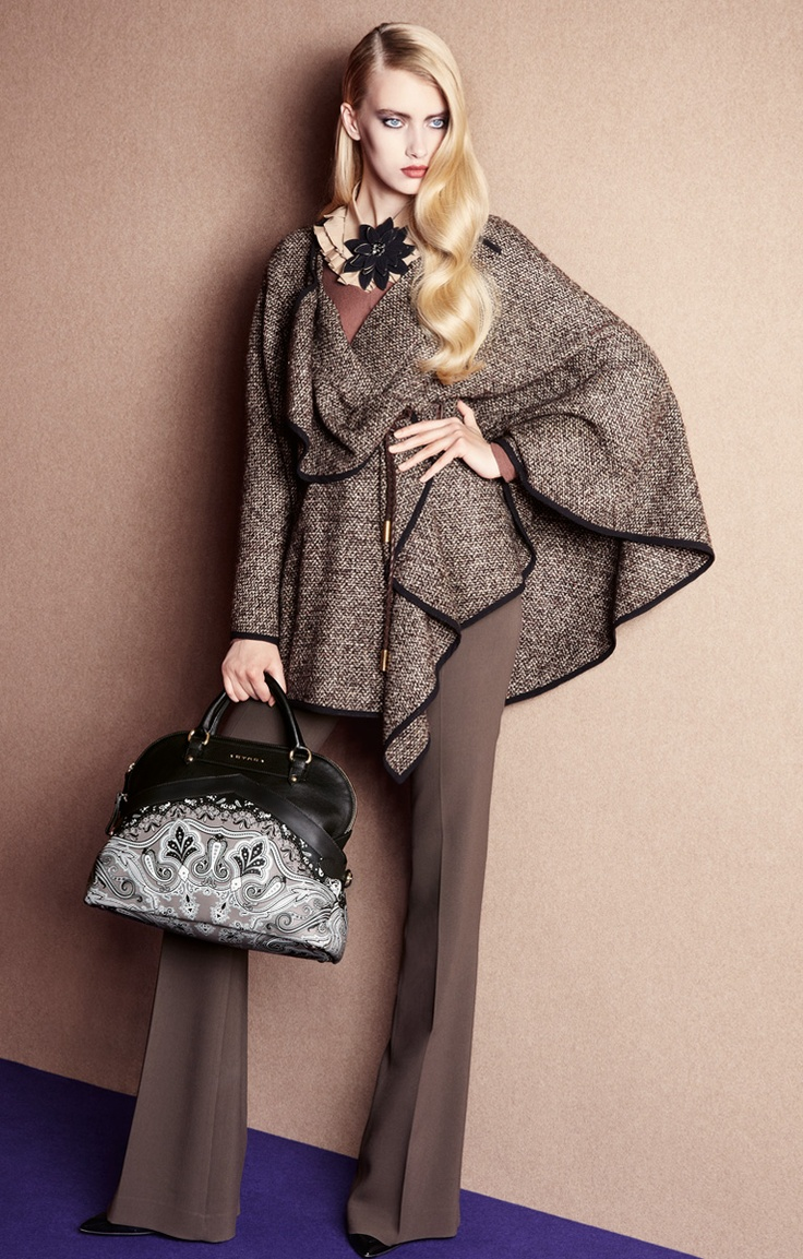 No to the purse & necklace but the wrap is Professionally chic!...Etro