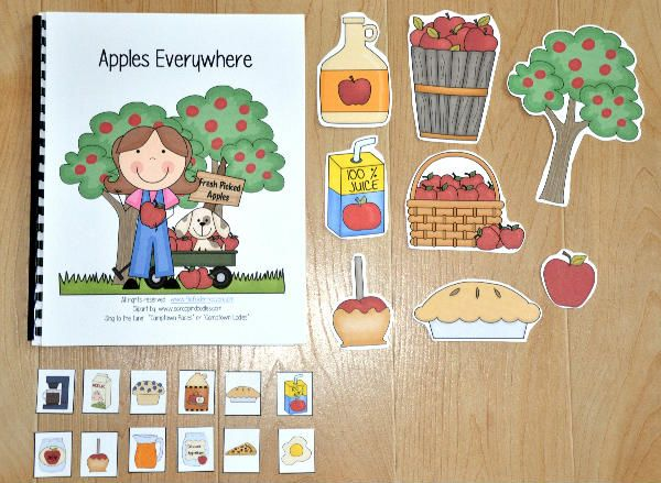 """This Adapted Song Book, """"Apples Everywhere,"""" is an apple or fall themed book that teaches apple themed vocabulary words. It is sung to the familiar tune, """"Camptown Races."""" Students match the pictures and sing along as the teacher or therapist sings the song and moves through the pages. After the song is complete, students engage in a sorting activity that focuses on classifying apple themed objects."""