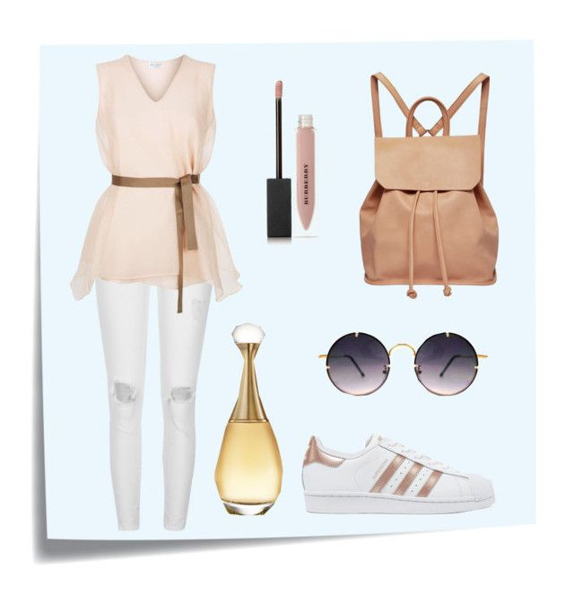 """""""Sporty outfit"""" by spookie1 ❤ liked on Polyvore featuring Post-It, River Island, Brunello Cucinelli, adidas Originals, Urban Originals, Spitfire, Burberry and Christian Dior"""