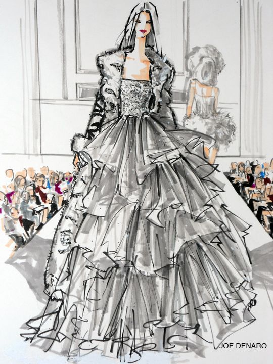 Fashion sketch by Professor Joe Denaro at Parsons School of Design. He is featured artist at master class, W Hotel, New York City; Oscar de Ia Renta Fashion Week 2011, runway fashion illustrator. Well known for his magazine illustrations, couture art pieces, and portrait commissions for private clients.