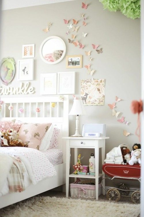 """shabby chic girls bedroom - butterflies on wall  I like this look, already have the butterflies, but need the pieces to add in purple  Does anybody know where I can find the word """"twinkle"""" like that, I want it!"""