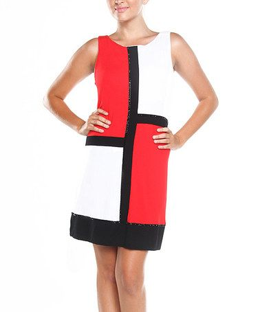 Take a look at this Get Red & White Color Block Shalom Shift Dress by Joyous & Free on #zulily today!