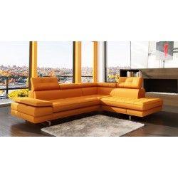 VIG Furniture   5057   Modern OrangeTufted Bonded Leather Sectional Sofa    VGEV SP 5057