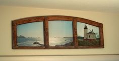 Above Door Art and picture frames | Lighthouse scene in an antique window frame over a patio glass door