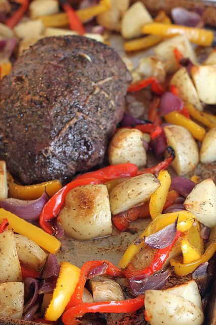 Roast Beef with Peppers, Onions and Potatoes by Back to the Cutting Board, via Flickr