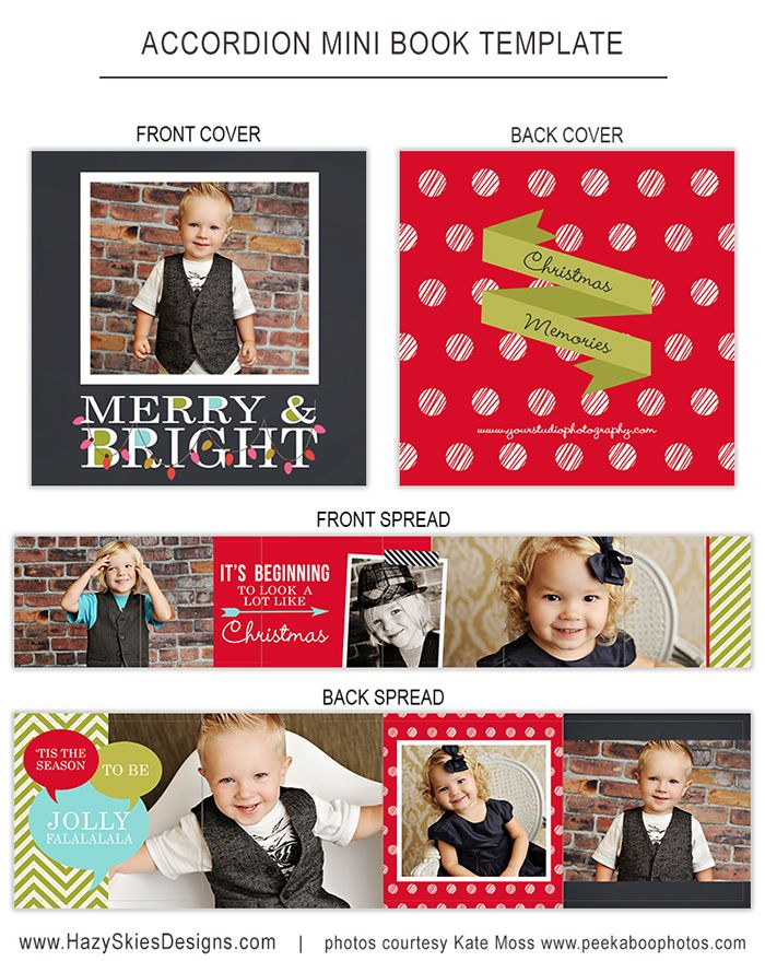 holiday christmas accordion mini book template for photographers book album photoshop. Black Bedroom Furniture Sets. Home Design Ideas