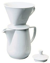 melitta 6 cup porcelain pourover brewer with carafe