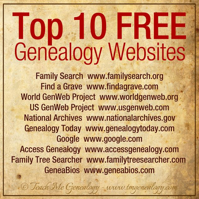 Top 10 FREE Genealogy Websites ~ find some additional facts to help complete your family history and make your scrapbook pages come alive!