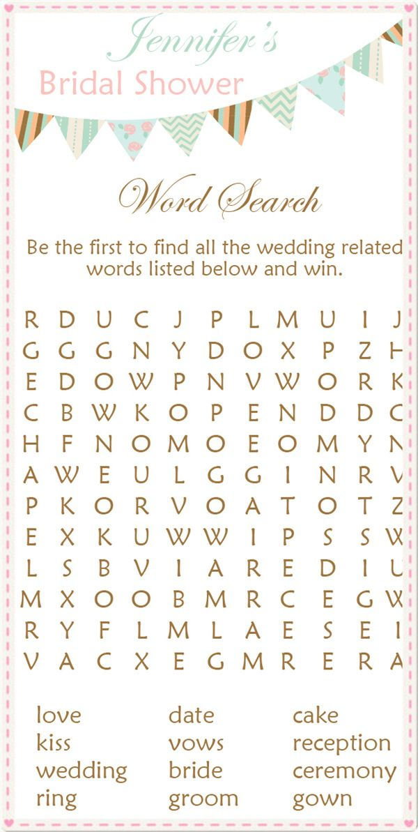 word search printable bridal shower games