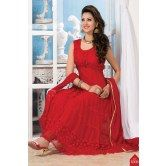 latest-embroidered-red-short-sleeve-anarkali-suit