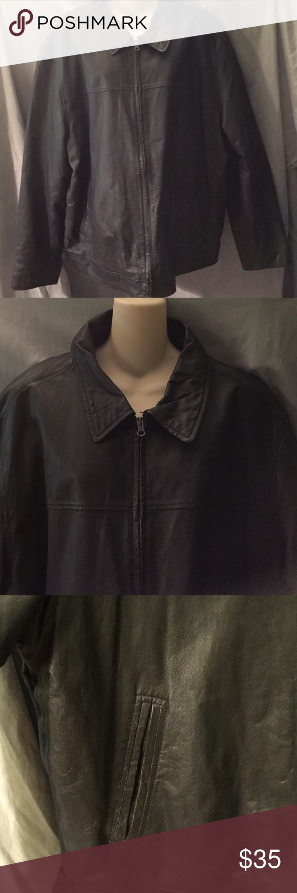 Men's faux leather jacket St. John's Bay black Faux-leather jacket. Front side pockets as well as Inside pocket. St. John's Bay Jackets & Coats