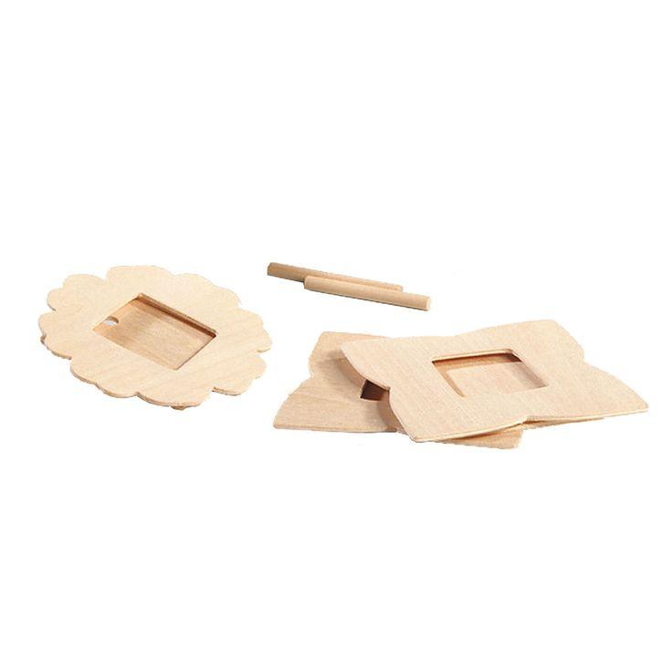 Set van 3 houten fotolijstjes om zelf te versieren met verf, stiften of glitters. Afmeting: fotolijstje Ø 8,5 cm - Fotolijstjes Versieren, 3st.