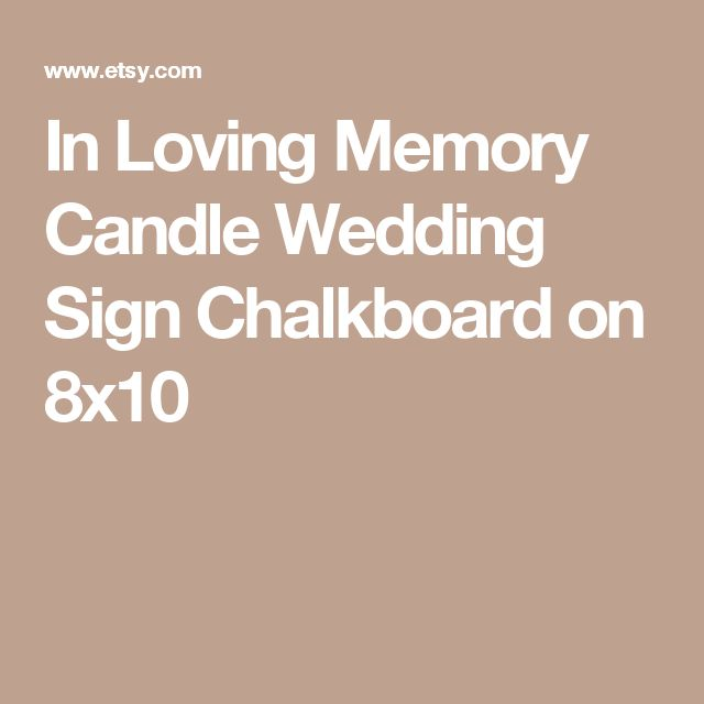 In Loving Memory Candle Wedding Sign Chalkboard on 8x10