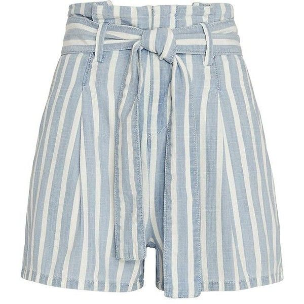 FRAME EXCLUSIVE Striped Paperbag Waist Shorts   Extra 40% Off Select... ($198) via Polyvore featuring shorts, tie belt, relaxed fit shorts, relaxed shorts, striped shorts and stripe shorts