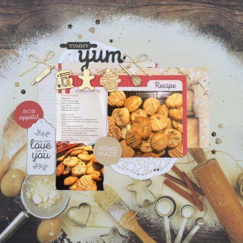 Layout 'Yummy Yum' by Leonie Neal-Dawson Design Team Kaisercraft using 'Bon Apetit' collection ~ Scrapbook Layouts.