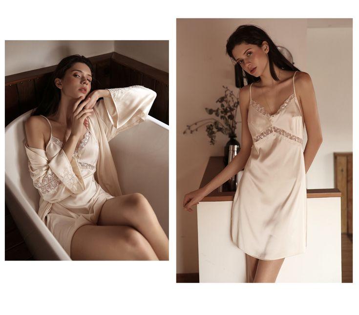 今夕何夕 浴袍晨袍性感長袖睡衣女結婚新娘浴衣仿真絲綢睡袍秋-淘寶網 | Slip dress, Dresses, Shoulder dress