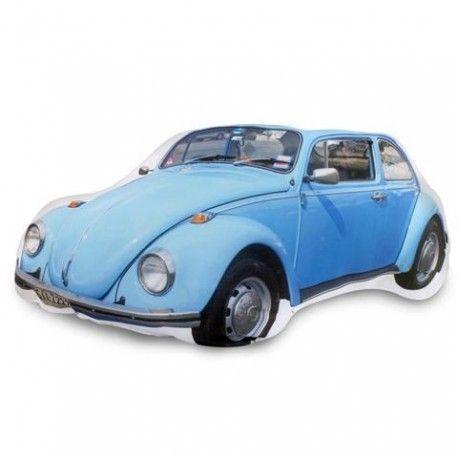 Cojín rectangular con estampado de un coche azul. Cojines llenos de color y alegría para dar a tu casa un estilo único y divertido.