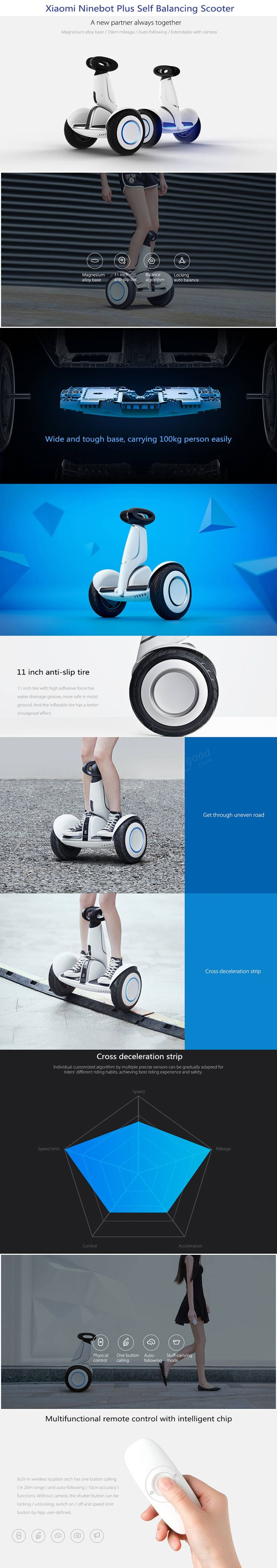 Xiaomi Ninebot Plus N4M340 11 inch Electric Bluetooth Self Balancing Scooter 400W x 2 18km/h Max Speed  #sports #outdoor #cycling