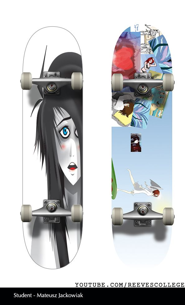 Skateboard Deck Design Adobe Illustrator CS6 by Reeves College Student Mateusz J  #skateboard #clipart #design #art #skateboardart #skateboarddesign #skatedeck #deckart #deckdesign #graphicdesign Subscribe to Reeves College:  http://www.youtube.com/subscription_center?add_user=ReevesCollege