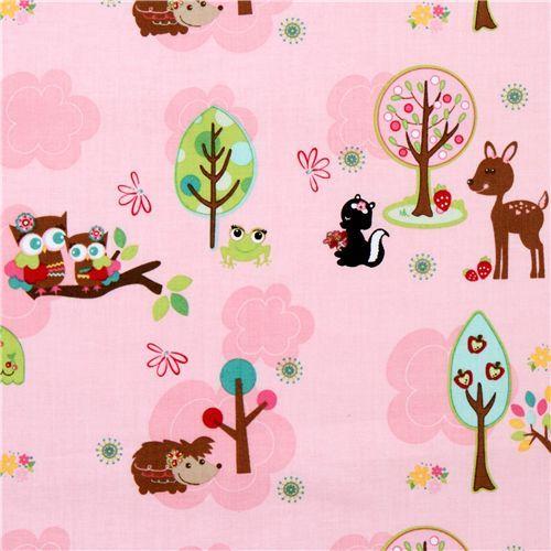 pink Riley Blake fabric kawaii owl hedgehog deer cute fabric with owls, hedgehog, deer, frog & skunk from the USA