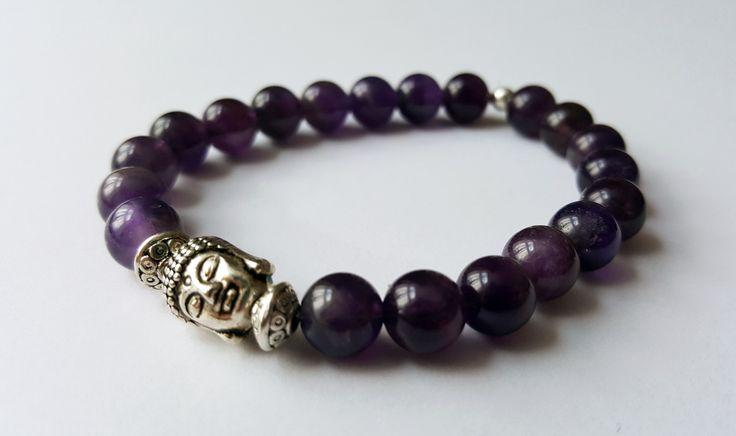 Unisex Genuine Amethyst Buddha Bracelet by Wild Lotus Jewellery