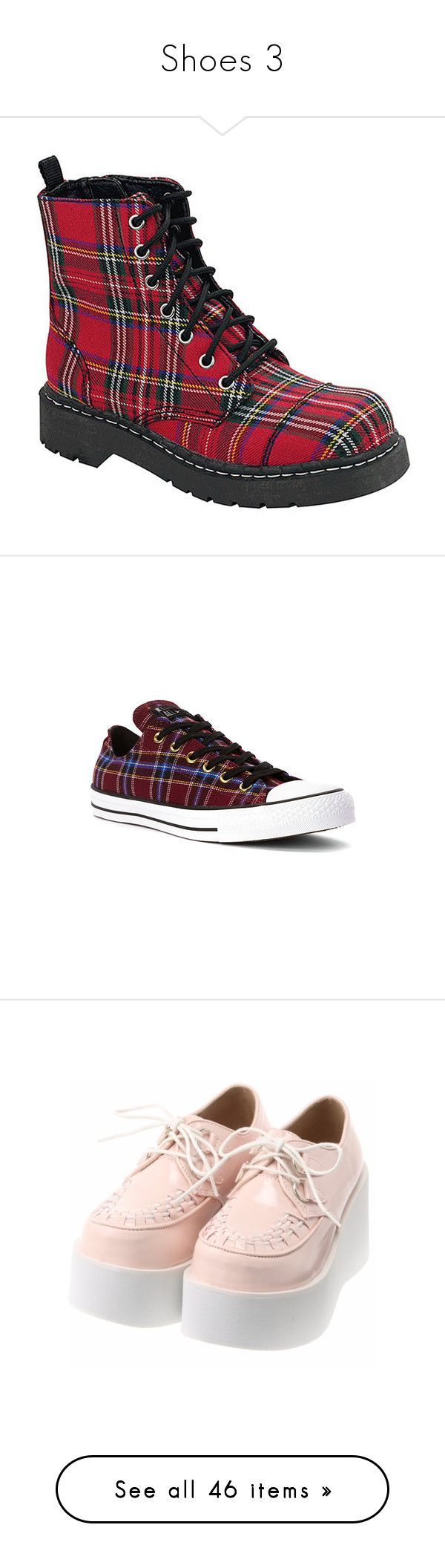 """""""Shoes 3"""" by chemicalfallout249 ❤ liked on Polyvore featuring shoes, boots, red tartan shoes, plaid combat boots, military boots, red shoes, tartan boots, sneakers, athletic-inspired and women's"""