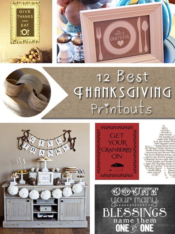 12_Best_Thanksgiving_Free_Printables cupcake toppers, treat bag labels, chalkboard art printables, etc.