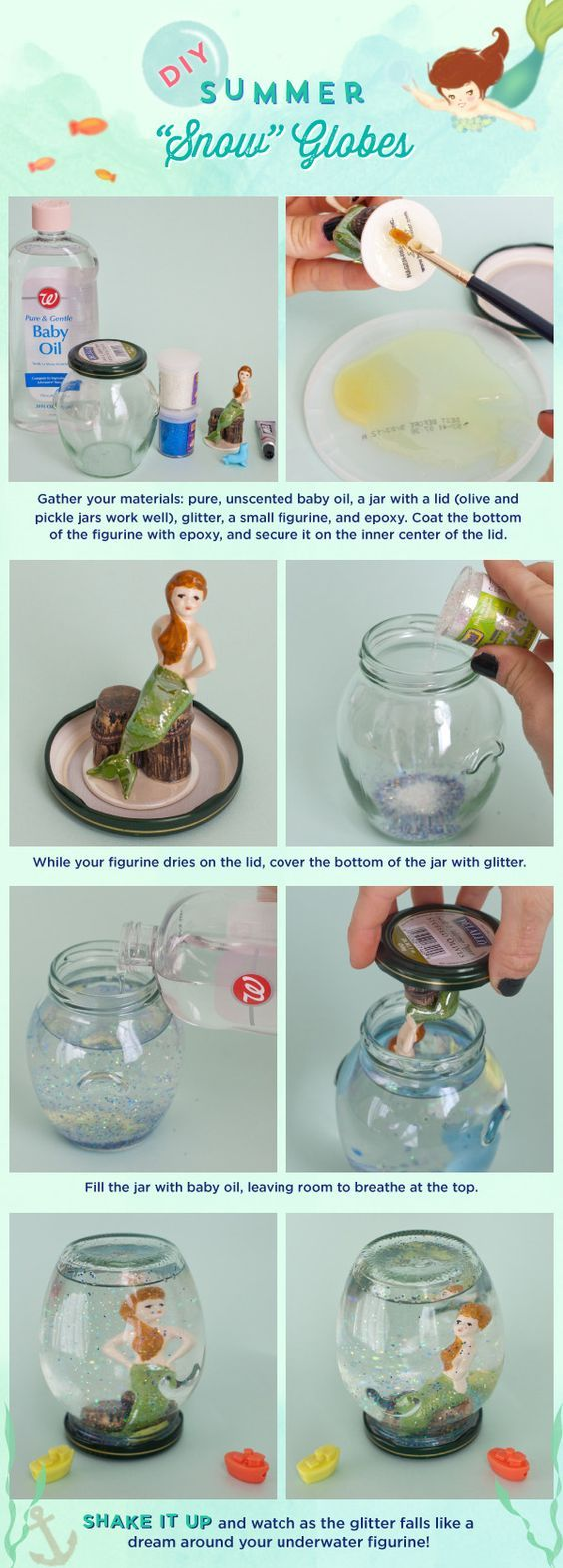 "Shake Things Up: Make a DIY Summer ""Snow"" Globe!- I like the project, but not all the materials used..:"