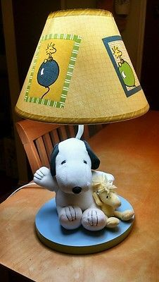 LAMBS & IVY Baby SNOOPY NURSERY BED SIDE LAMP PLUSH WOODSTOCK w/ shade EXCELLENT