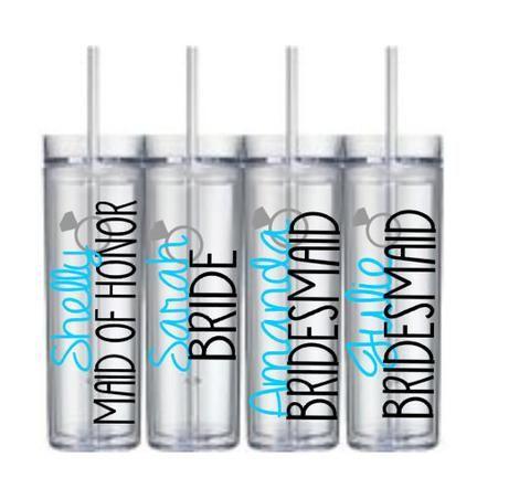 Bridesmaid Cups, Bridesmaid Tumblers, Skinny Tumblers, Bridesmaid Gift, Bridesmaid Tumblers