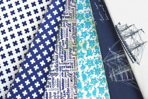 Navy & turquoise marine cotton fabric set with letters, crosses, sailships, fish, jellyfish, octopusses and turtles / Zestaw morski