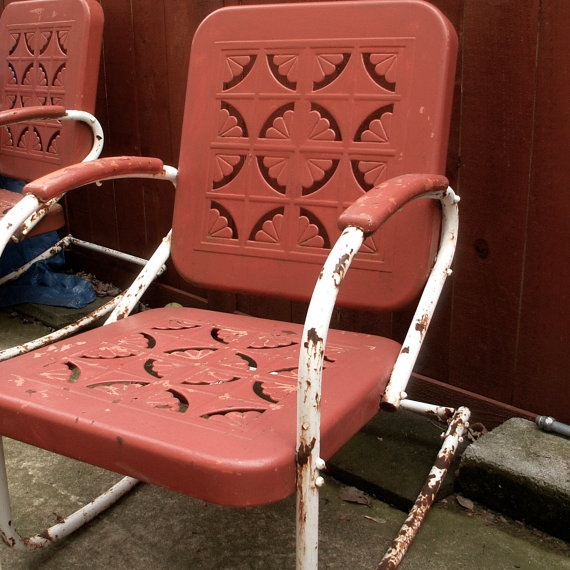 Motel Chairs 2 Of 3 Are Rockers Etsy Vintage Metal Lawn Chairs