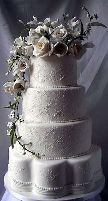 white floral wedding cake by kickass kakes, via Flickr