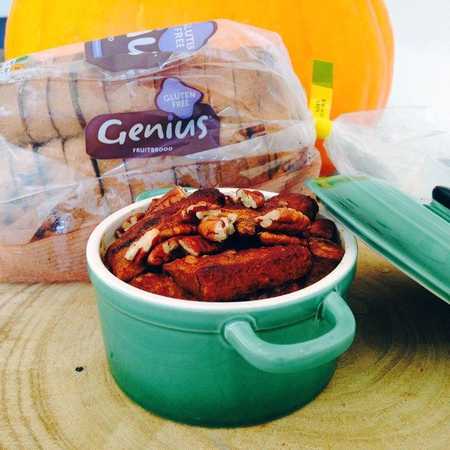 Glutenvrije pompoen pecan broodpudding - Focus on Foodies