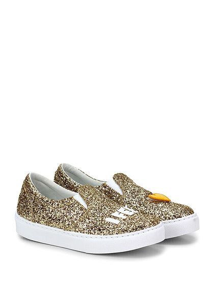 Chiara Ferragni - Sneakers - Donna - Sneaker in glitter con applicazioni su frontale e suola in gomma. Tacco 25. - ORO