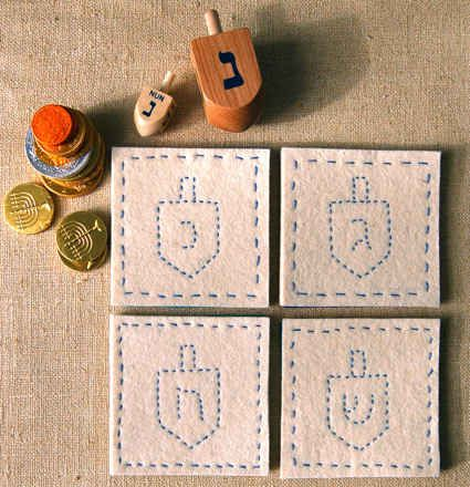 Sew these adorable coasters. #Thanksgivukkah