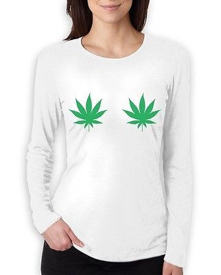 WEED LEAVES Women Long Sleeve T-Shirt Breasts HIGH SWAG STYLE CARA TREND   eBay