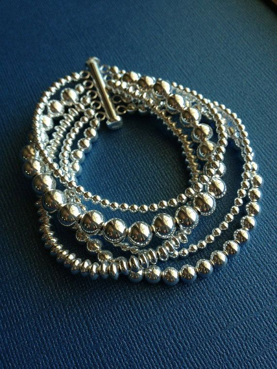 Bracelet argent, Bracelet perles, argent Sterling, Fine Jewelry