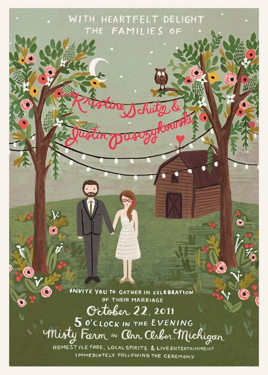 Illustrated wedding invitation by Rifle Paper Co for a wedding in Michigan at Misty Farm. Planning and Design: Alison and Bryan | Photography: Jill DeVries